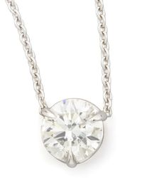 Neiman Marcus | Metallic 18k White Gold Diamond Solitaire Pendant Necklace | Lyst