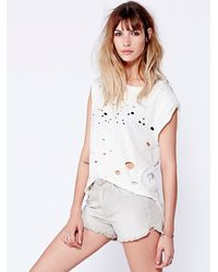 Free People | Natural Womens Dolphin Hem Denim Cutoff | Lyst