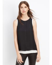 Vince - Black Mixed Media Double Layer Tank - Lyst
