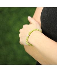 Sydney Evan - Green Diamond Ball Beaded Bracelet - Lyst