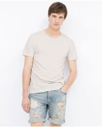 Zara | Natural Short Sleeve T-shirt for Men | Lyst
