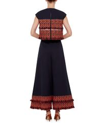ADEAM | Blue Cotton Silk Wide Leg Fringed Pants | Lyst