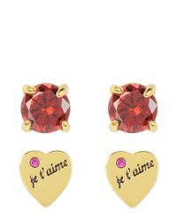 Juicy Couture | Pink Je T'aime & Ruby Stud Earring Set | Lyst