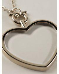 Ferragamo - Metallic Heart Pendant Necklace - Lyst