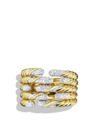 David Yurman - Yellow Willow Open Five-row Ring With Diamonds In Gold - Lyst