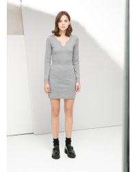 Mango - Gray Jersey Dress - Lyst