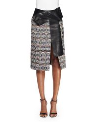 Alexander McQueen - Black Leather-trimmed Bouclé Skirt - Lyst