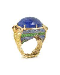 Bernard Delettrez | Metallic Four Parrots W/cabochon Tanzanite Gold Pave Ring | Lyst