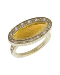 Gurhan | Metallic Women's 24k Yellow Gold Plated Sterling Silver Elliptical Ring | Lyst