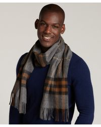 Burberry - Brown Giant Check Cashmere Scarf for Men - Lyst