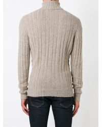 Isaia - Natural Cable-Knit Roll-Neck Cashmere Sweater for Men - Lyst