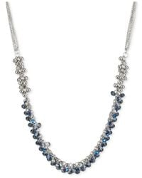 Kenneth Cole | Blue Mixed Faceted Shaky Bead Frontal Necklace | Lyst