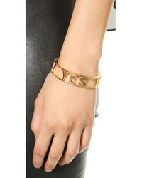 Rebecca Minkoff Metallic Yes No Hinge Bracelet - Gold