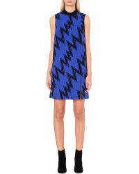Christopher Kane | Blue Flash-flocked Wool Dress | Lyst
