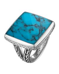 John Hardy | Blue Classic Chain Square Turquoise Ring Size 7 | Lyst