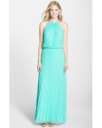 Xscape - Green Pleated Chiffon Blouson Dress - Lyst