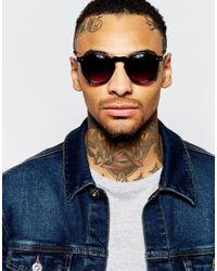 ASOS - Round Sunglasses In Black With Tort Arms for Men - Lyst