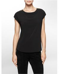 Calvin Klein - Black White Label Zip Detail Cap Sleeve Top - Lyst