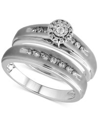 Beautiful Beginnings | Metallic Diamond Halo Engagement Bridal Ring Set In Sterling Silver (1/3 Ct. T.w.) | Lyst