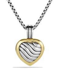 David Yurman | Metallic Sculpted Cable Heart Locket With Gold | Lyst