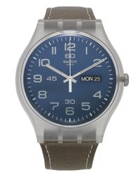 Swatch - Blue Unisex Swiss Daily Friend Brown Leather Strap 41mm Suok701 for Men - Lyst