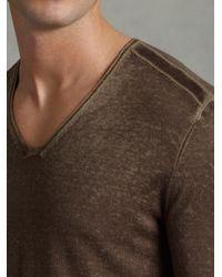 John Varvatos - Natural Suede Trim Reverse Print Sweater for Men - Lyst