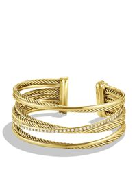 David Yurman | Yellow Crossover Four-row Cuff Bracelet With Diamonds In 18k Gold, 23mm | Lyst