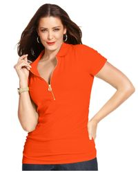Michael Kors - Orange Michael Plus Size Short-Sleeve Zip-Front Top - Lyst