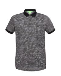 BOSS Green - Gray Slim-fit Cotton Polo Shirt In Salt And Pepper Look: 'paule 2' for Men - Lyst