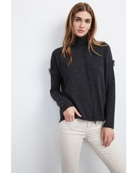 Velvet By Graham & Spencer - Gray Juju Feather Fringe Cashmere Sweater - Lyst