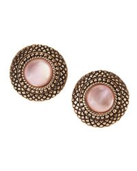 Stephen Dweck - Natural Quartz & Pink Mother-of-pearl Button Earrings - Lyst
