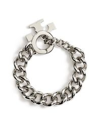 Tory Burch | Metallic Logo Toggle Chain Bracelet - Tory Silver | Lyst