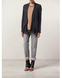 Brunello Cucinelli - Gray Organza Ruffle Wool Blazer - Lyst