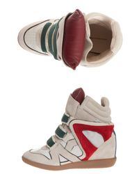Isabel Marant - Natural Wila Over Basket Calfskin Velvet Leather Sneakers - Lyst