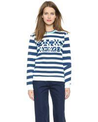 KENZO - Blue Striped Paris Sweatshirt - Aqua - Lyst