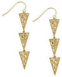 Macy's - Metallic Triple Triangle Drop Earrings In 14k Gold - Lyst