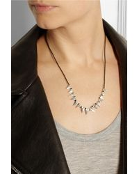 Dezso by Sara Beltran - Black Baby Shark Tooth Woven Cotton And Silver Necklace - Lyst