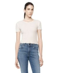 Alexander Wang | White Cropped Ruffle Tee | Lyst