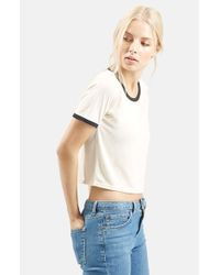 TOPSHOP | White Contrast Tee | Lyst