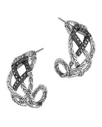 John Hardy - Metallic Classic Chain Silver Lava Woven Braided Saddle Hoop Earrings With Black Sapphire - Lyst