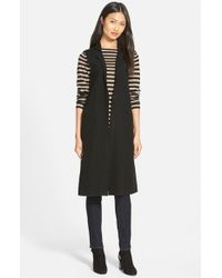 Eileen Fisher | Black Notch Collar Long Merino Wool Vest | Lyst