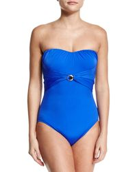 Gottex - Blue Crystal Clear Bandeau One-piece - Lyst