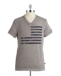 William Rast | Gray V-Neck Flag Tee for Men | Lyst