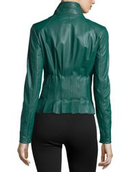 ESCADA - Blue Short Mock-neck Leather Jacket - Lyst