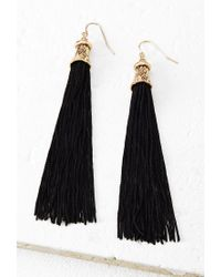 Forever 21 - Black Thread-tassel Drop Earrings - Lyst