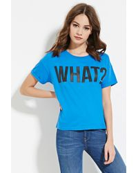Forever 21 - Black Boxy What Graphic Tee You've Been Added To The Waitlist - Lyst