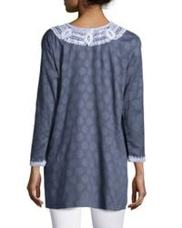Sulu Collection - Gray Aria Embroidered Cotton Tunic - Lyst