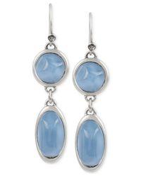 Kenneth Cole | Blue Silver-tone Geometric Stone Double Drop Earrings | Lyst