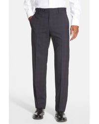Zanella - Blue 'devon' Flat Front Plaid Wool Trousers for Men - Lyst