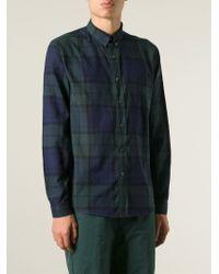 AMI - Green Plaid Pattern Shirt for Men - Lyst